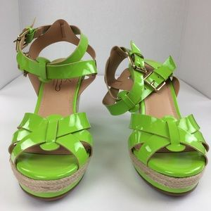 d8aea7d23285 Diane Gilman Shoes - Diane Gilman Lime Green Strappy Wedge Sandals